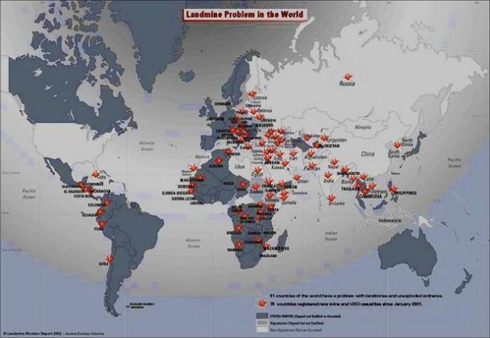 Harta ilustrare a țărilor în care există o amenințare de mine antipersonal neexplodate