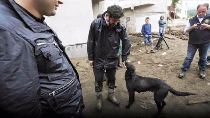 Член правительства Грузии Каха Каладзе принимает участие в ликвидации последствий наводнения в Тбилиси (4 фото)