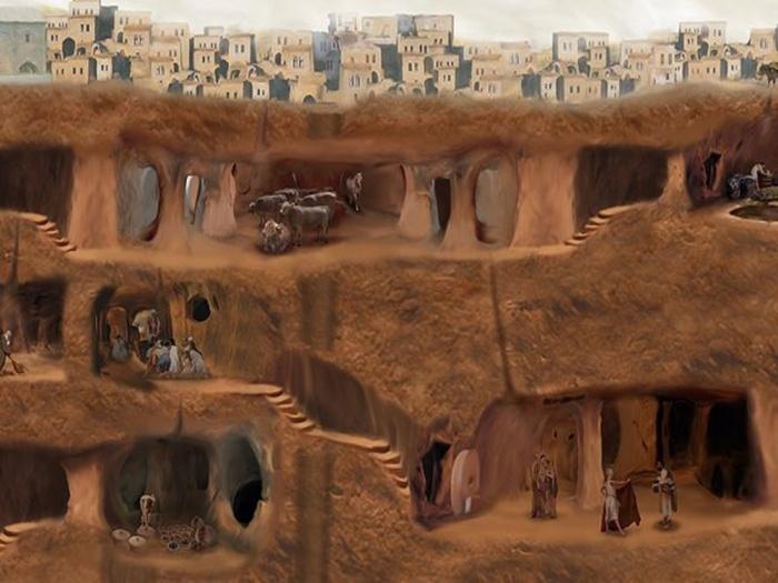 Древний подземный город под турецкой деревней (10 фото)