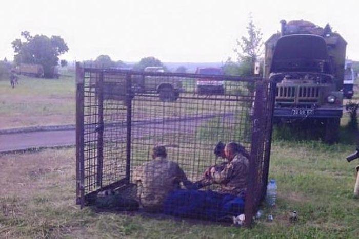 Пьяных военнослужащих украинской армии посадили в клетку-вытрезвитель (2 фото + видео)
