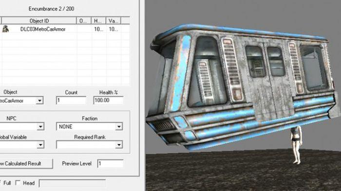 В игре Fallout 3 вагон оказался лишь одним из видов брони игрока (2 фото)