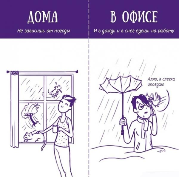 Сравнение работы в офисе с работой на дому (6 картинок)