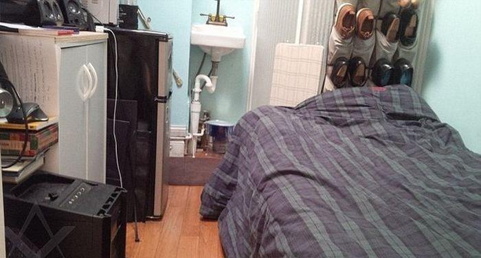 Крошечная квартира на Манхэттене за 1100 долларов в месяц (7 гифок)