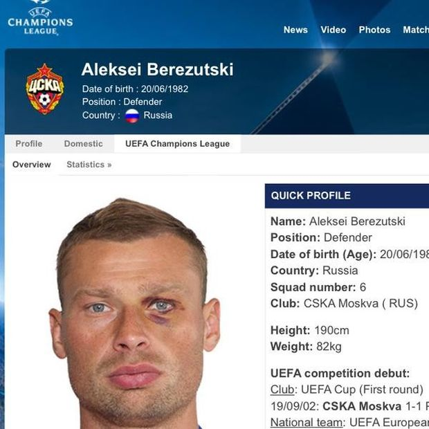 Забавное фото в профиле футболиста Алексея Березуцкого на сайте УЕФА (2 фото)