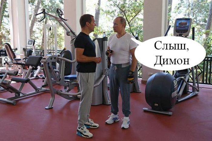 Владимир Путин и Дмитрий Медведев провели совместную тренировку (21 фото + видео)