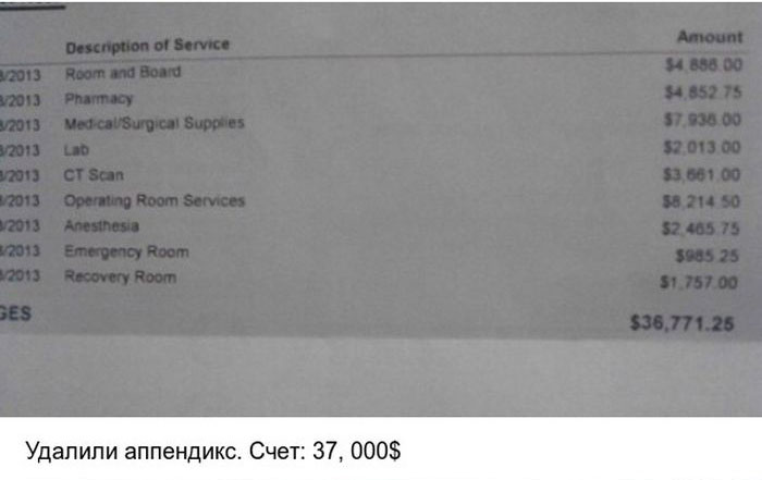 Стоимость элементарных медицинских услуг в США (4 фото)