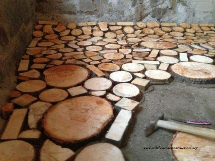 Пол из деревянных дисков (10 фото)