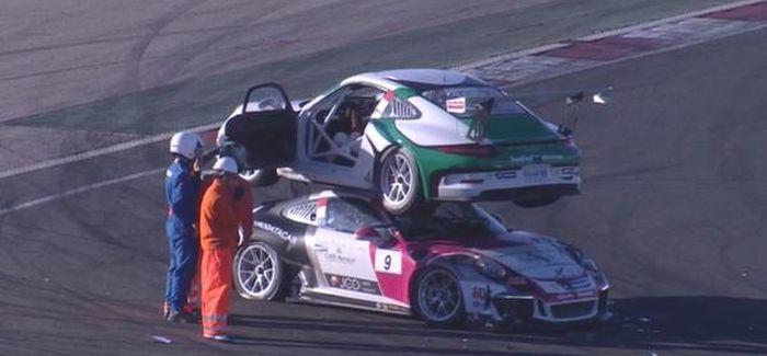 Гоночный болид Porsche заехал на крышу соперника (2 фото + видео)