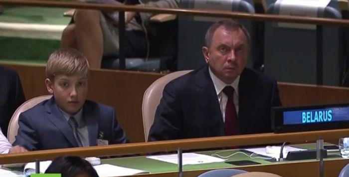 На сессии Генассамблеи ООН присутствовал сын президента Белоруссии Александра Лукашенко (2 фото)