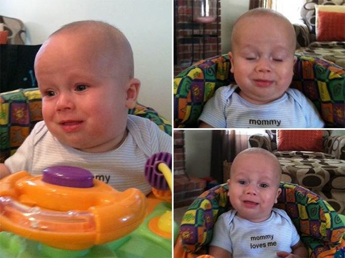 Лица малышей в наиболее ответственный момент (15 фото)