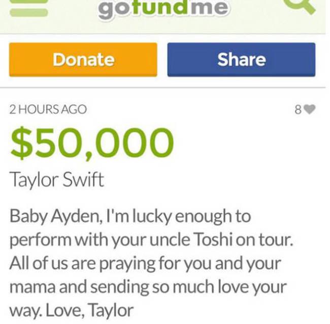 Певица Тейлор Свифт пожертвовала 50 000 долларов на лечение онкобольного мальчика (5 фото)