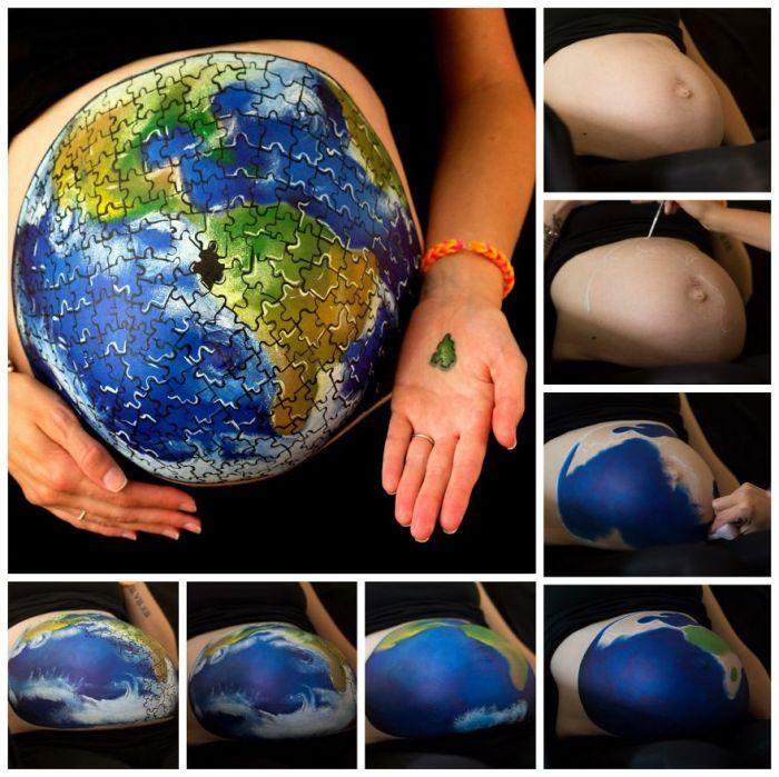 Оригинальное предложение руки и сердца и другие великолепные рисунки на животах беременных женщин (10 фото)