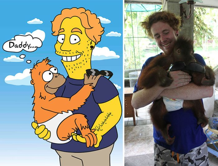 Девушка превращает простых людей и знаменитостей в героев мультсериала «Симпсоны» (13 фото)