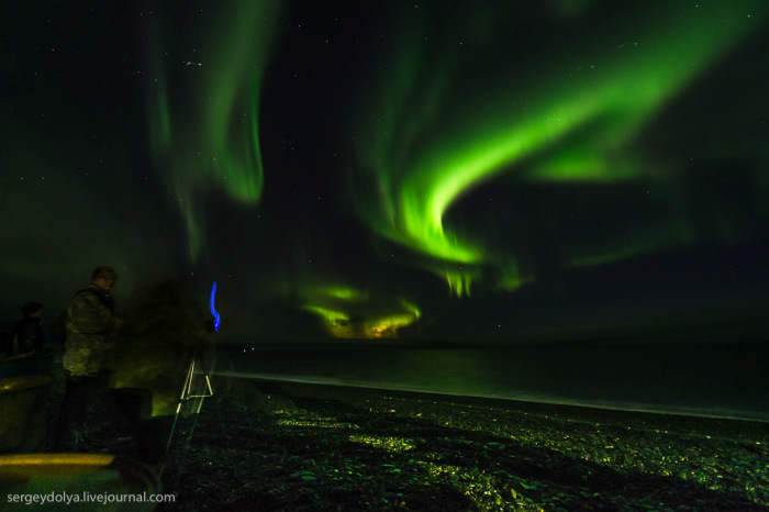 Восхитительное северное сияние на Чукотке (7 фото)