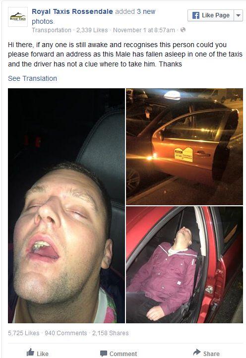 Чтобы узнать адрес пьяного пассажира, таксист выложил его фото в Facebook (5 фото)