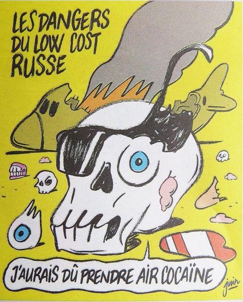 Журнал Charlie Hebdo опубликовал карикатуры на крушение российского самолета (2 фото)