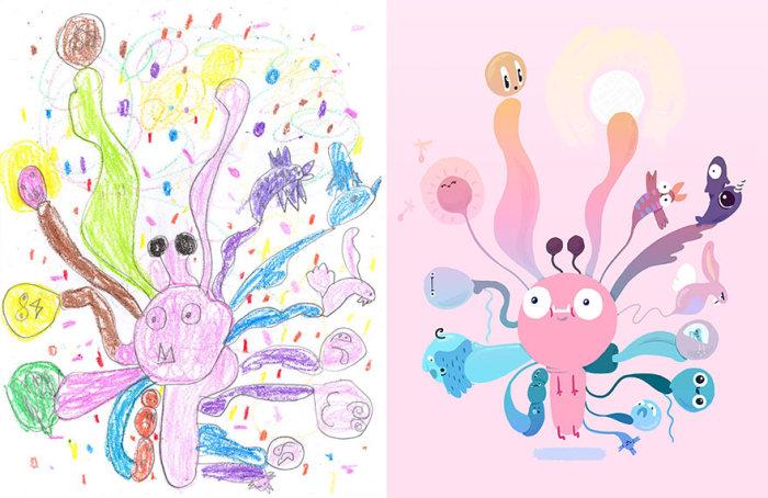Необычные монстры на основе детских рисунков (26 рисунков)