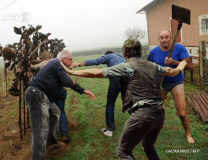 Фермер в трусах и с лопатой напал на активистов (25 фото)