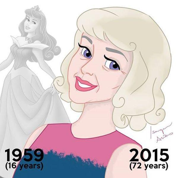 Как бы сегодня выглядели повзрослевшие и состарившиеся принцессы диснеевских мультфильмов (8 картинок)