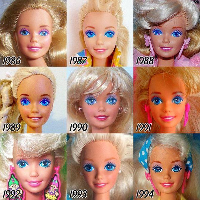 Как с годами менялось лицо куклы Барби (6 фото)
