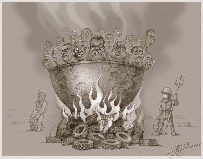 Сенатор Валентина Петренко использовала рисунок горящего Януковича для карикатуры на Charlie Hebdo (2 фото)