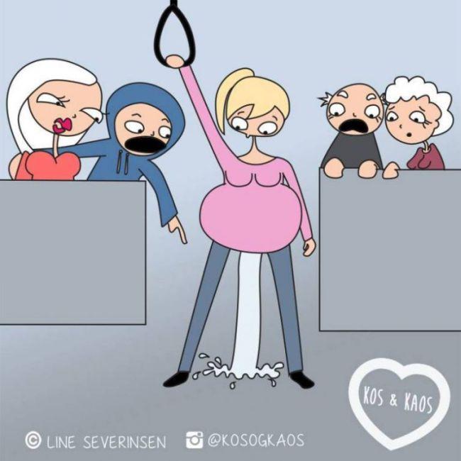 Ежедневные проблемы беременных женщин в веселом комиксе Лайн Северинсен (18 картинок)