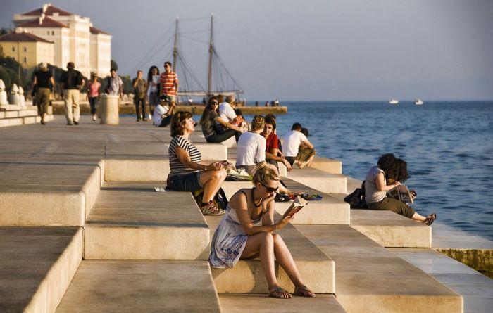 «Морской орган» на берегу Адриатического моря в Хорватии (4 фото + видео)