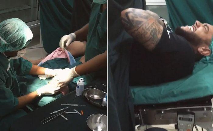 Из ноги рэпера Тимати врачи извлекли зубы, напавшей на него барракуды (4 фото)