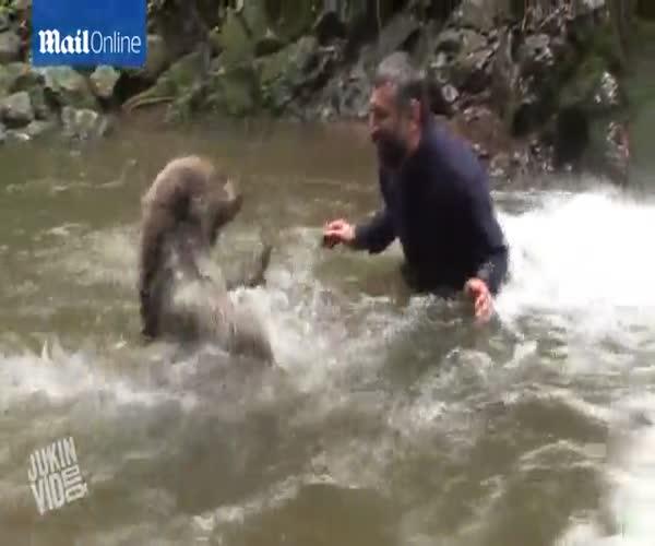 Джамаль Галас плещется в воде с диким медведем