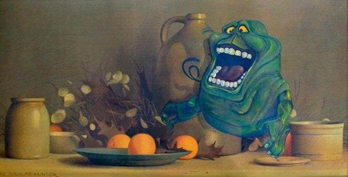 Художник Дэйв Поллот дарит вторую жизнь забытым картинам, дополняя их фантастическими персонажами (20 фото)