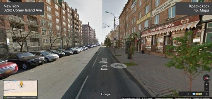Склеенные панорамы Google Street View показали сходство между Нью-Йорком и Красноярском (9 фото)