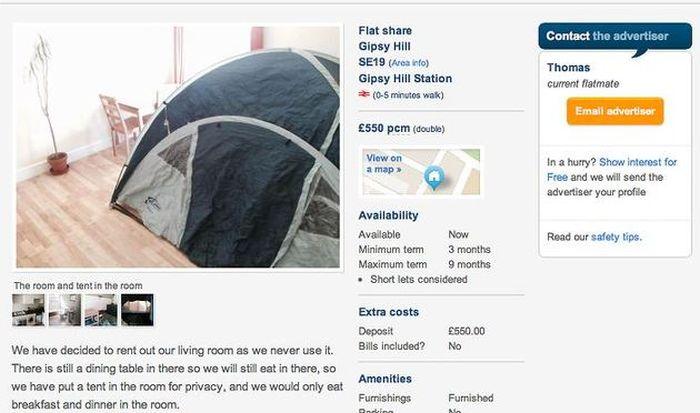 В одном из домов Лондона сдается палатка за 55 000 рублей в месяц (4 фото)