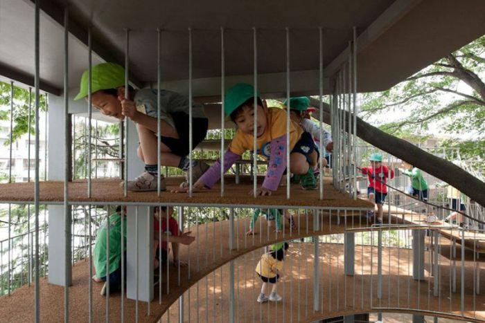 Детская игровая площадка вокруг дерева (7 фото)