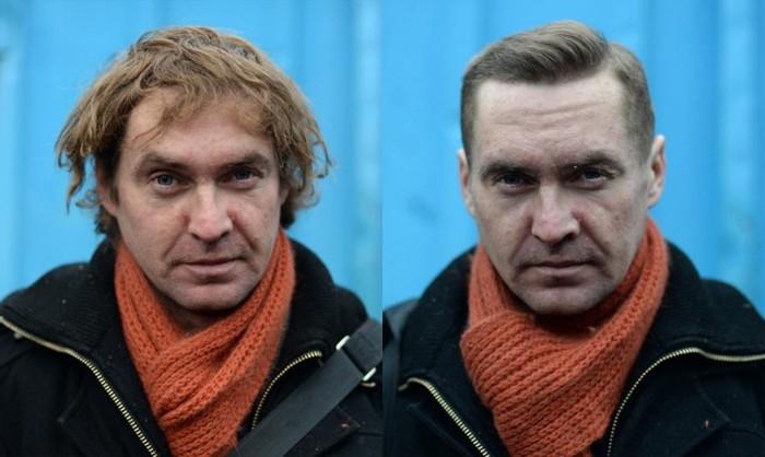 Известный австралийский парикмахер Насир Собани постриг питерских бездомных (8 фото)