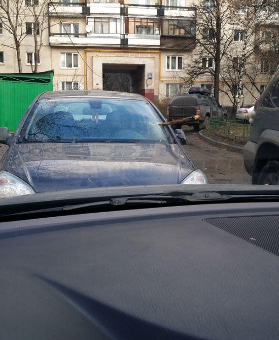 Одно из последствий сильного ветра в Москве (2 фото)