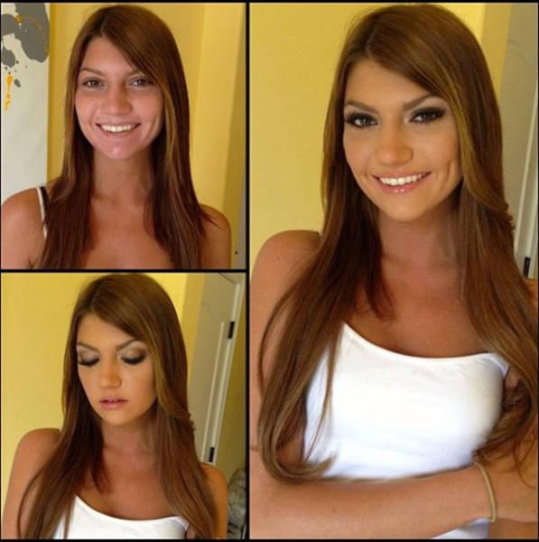 Девушки заметно преобразились благодаря макияжу (23 фото)