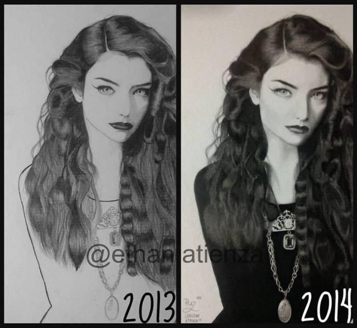 Эволюция рисунков взрослеющих художников (24 фото)