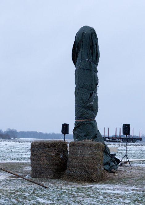 В Эстонии неизвестные спилили огромный деревянный монумент-фаллос (4 фото)