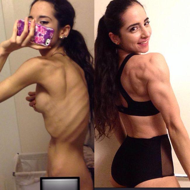 Страдающая анорексией девушка выздоровела и занялась бодибилдингом (9 фото)