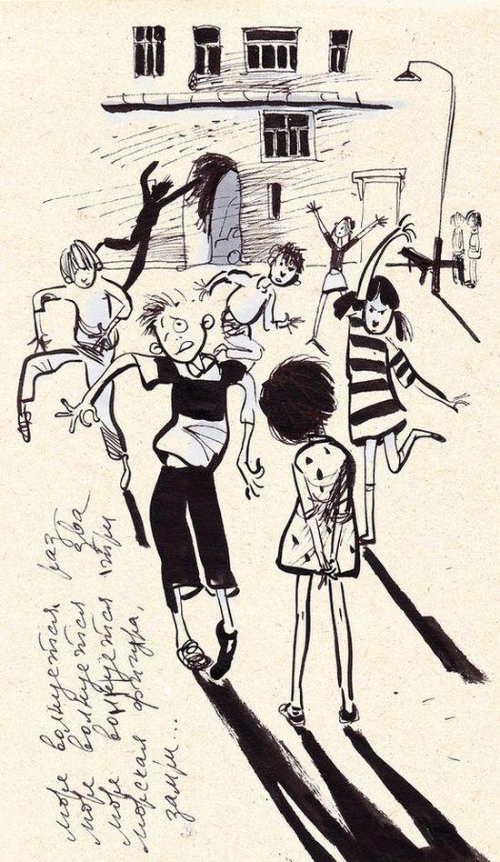 «Для тех, кто помнит» - серия рисунков с фрагментами из нашего детства (8 рисунков)