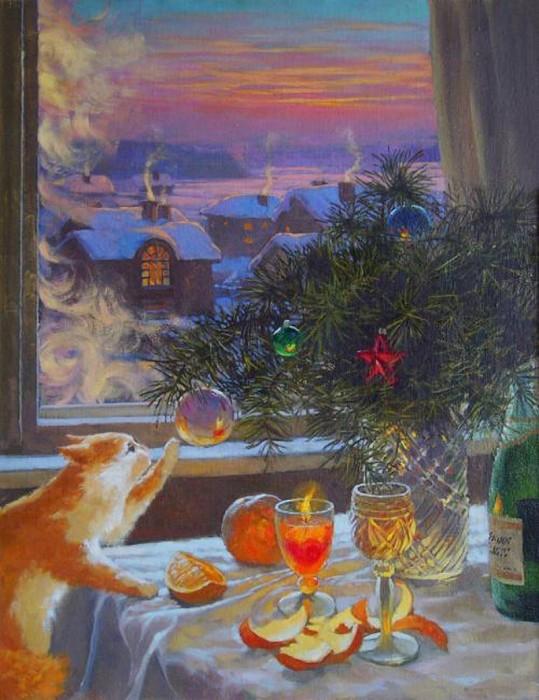 Новогодние картины, которые помогут обрести праздничное настроение (20 картин)
