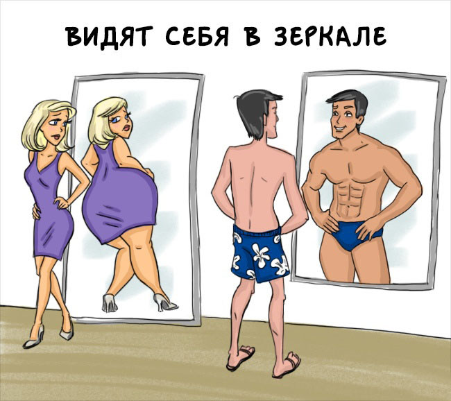 Разница между мужчинами и женщинами в веселых комиксах (14 картинок)