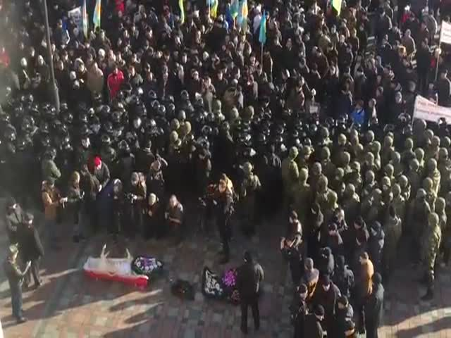 В Киеве к зданию верховной рады принесли свинью в гробу