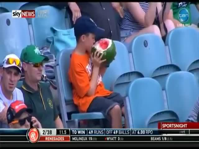 Мальчик необычно ест арбуз