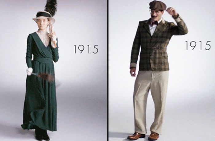 Эволюция мужской и женской моды за последние 100 лет (12 гифок)
