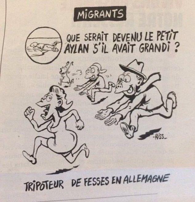 Сатирический журнал Charlie Hebdo нарисовал карикатуру на утонувшего сирийского мальчика (2 фото)
