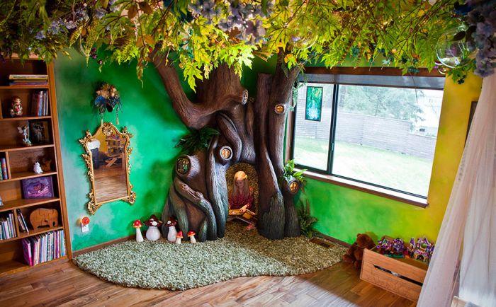 Самодельное дерево, превратившее комнату дочери в сказочный мир (12 фото)