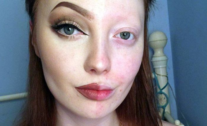Любительница яркого макияжа поделилась своими естественными фото (6 фото)