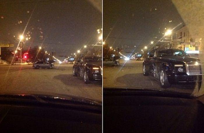 В Челябинске ВАЗ врезался в Rolls-Royce Phantom стоимостью 20 миллионов рублей (6 фото + видео)