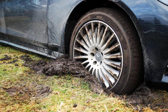 В Киеве роскошный Mercedes S-Class припарковали прямо в грязи (7 фото)